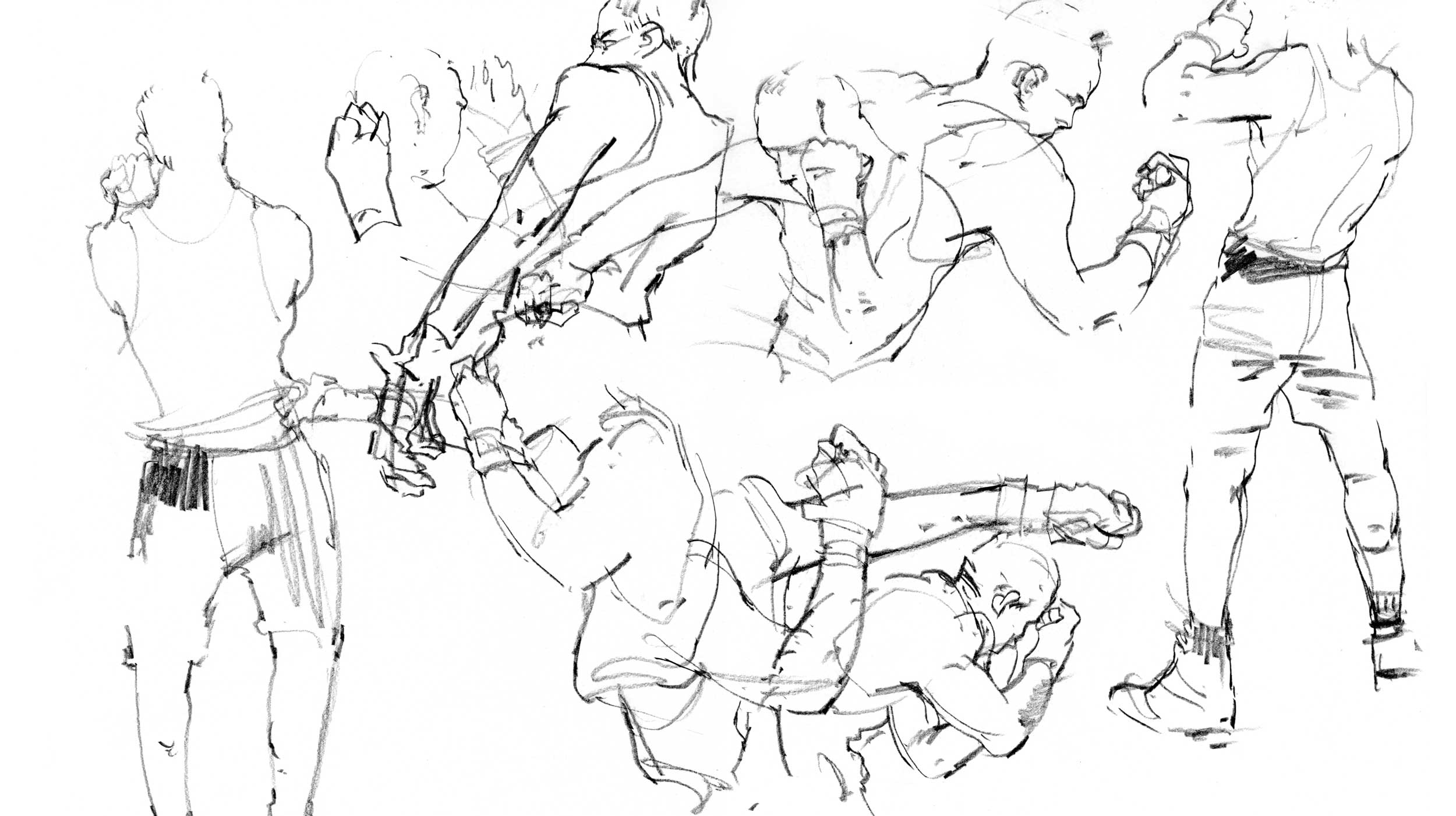 Multiple quick sketches of a boxer
