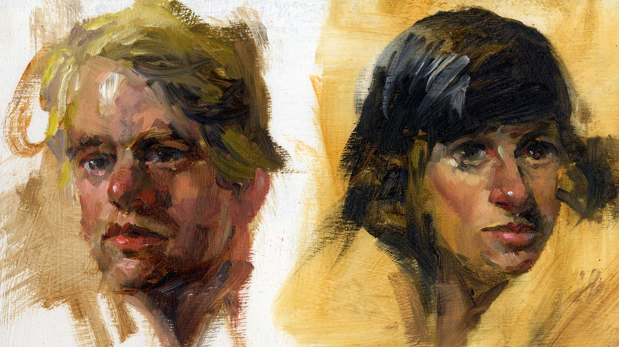 Paint studies of a man's and a woman's heads