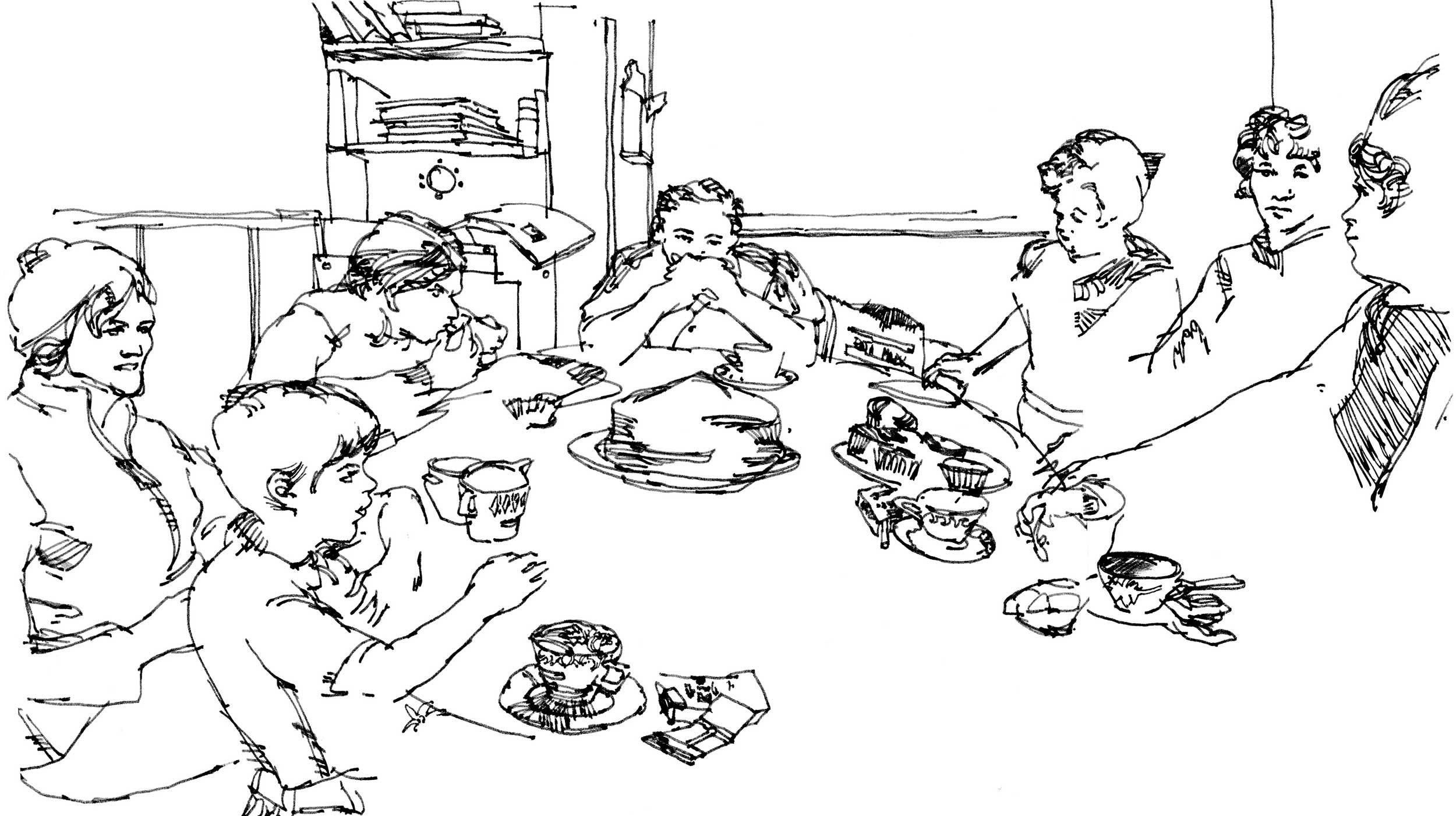 Ink drawing of family gathered around the dinner table